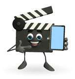 Clapper Board Character with mobile Royalty Free Stock Images