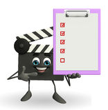 Clapper Board Character with notepad Royalty Free Stock Image