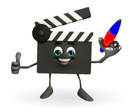 Clapper Board Character with pen Royalty Free Stock Photo