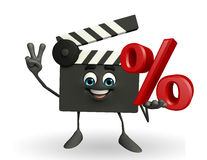 Clapper Board Character with percent sign Royalty Free Stock Images