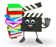 Clapper Board Character with pile of books Stock Photo