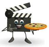Clapper Board Character with pizza Royalty Free Stock Photo