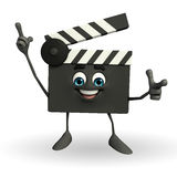 Clapper Board Character with pointing pose Stock Photography