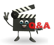 Clapper Board Character with Q and A Royalty Free Stock Photo