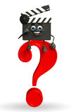 Clapper Board Character with question mark Stock Image