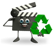 Clapper Board Character with recycle sign Stock Photo