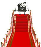 Clapper Board Character on the red carpet Royalty Free Stock Photos