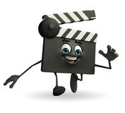 Clapper Board Character is running Stock Photography