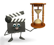 Clapper Board Character with sand clock Stock Photos