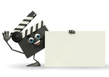 Clapper Board Character with sign Stock Photo