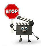 Clapper Board Character with sign Royalty Free Stock Image