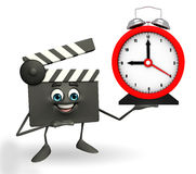 Clapper Board Character with table clock Stock Photos