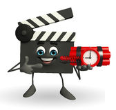Clapper Board Character with time bomb Stock Image