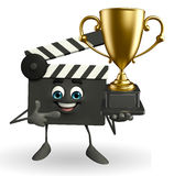 Clapper Board Character with trophy Royalty Free Stock Photo