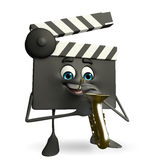 Clapper Board Character with Trumpet Stock Photography