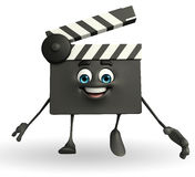 Clapper Board Character with walking pose Royalty Free Stock Image
