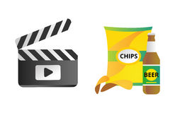 Clapper board and chips food vector illustration. Royalty Free Stock Images