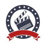 Clapper board cinema icon. Illustration design Stock Photography