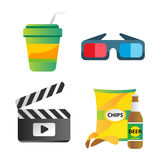 Clapper board and cinema icons vector illustration. Stock Image