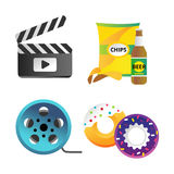Clapper board and cinema icons vector illustration. Movie action black camera clap. Cinematography hollywood production director wooden shot blank equipment Royalty Free Stock Photo