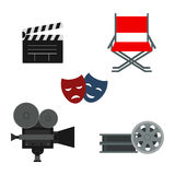 Clapper board and cinematography equipment vector illustration. Royalty Free Stock Photos