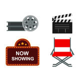 Clapper board and cinematography equipment vector illustration. Stock Image
