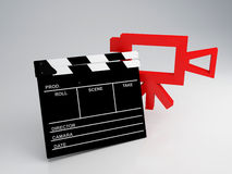 Clapper board 3d illustration. Clapper board and old camera 3d illustration Royalty Free Stock Images