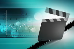 Clapper board with film Stock Image