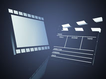 Clapper board. And film, 3d illustration.  Cinema concept Royalty Free Stock Image