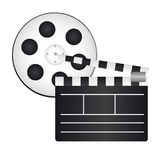 Clapper board and film reel. Isolated background. vector stock illustration