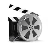 Clapper board with film reel. 3d render of clapper board with film reel  on white background Stock Photo