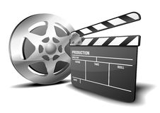Clapper board and film reel Royalty Free Stock Images