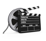 Clapper Board and Film Reel. Isolated on white background. 3D render Stock Photos