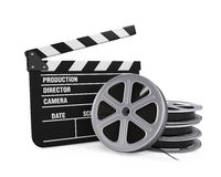 Clapper Board and Film Reel Royalty Free Stock Photos