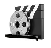 Clapper board and filmreel Stock Photography