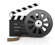 Clapper board and filmstrip. On white background. 3d rendered image Stock Photos