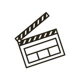Clapper board flat line icon Royalty Free Stock Images