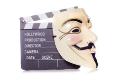 Clapper board and guy fawkes mask Royalty Free Stock Image