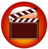 Clapper board icon. Red movie clapper board web icon or button Stock Images