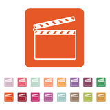 The clapper board icon. Clapper Board symbol. Flat. Vector illustration. Button Set Royalty Free Stock Photos