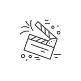 Clapper Board Icon. Linear illustration of clapper board. Vector line style icon Stock Photo