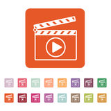 The clapper board icon. Play symbol. Flat. Vector illustration. Button Set Stock Image