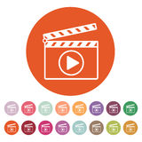 The clapper board icon. Play symbol. Flat. Vector illustration. Button Set Royalty Free Stock Image