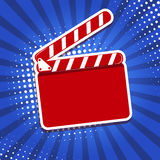 Clapper board icon on pop art style background. Royalty Free Stock Photo