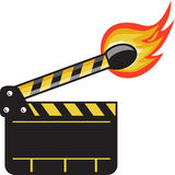 Clapper Board Match Stick On Fire Retro Stock Images