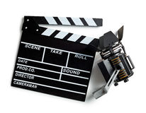 Clapper board and movie light Royalty Free Stock Photography