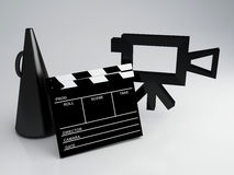 Clapper board and old camera 3d illustration. Cinema concept Stock Image