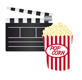 Clapper board and pop corn Royalty Free Stock Photos