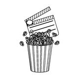 Clapper board and pop corn icon Royalty Free Stock Photography
