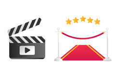 Clapper board and red road vector illustration. Stock Photography